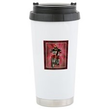 Dirt biker blasting thru red Travel Mug