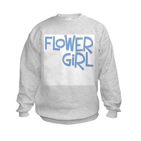 Hipster Flower Girl: Blue Kids Sweatshirt