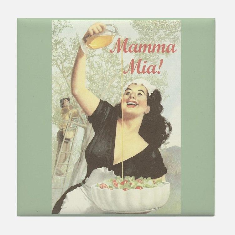 Mamma Mia Vintage Art Tile Coaster