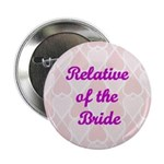 Relative of the Bride Pink Hearts Button