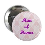 Man of Honor Pink Hearts Button