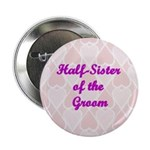 Half-Sister of the Groom Pink Hearts Button