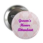 Groom's Honor Attendant Pink Hearts Button