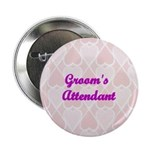 Groom's Attendant Pink Hearts Button