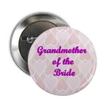 Grandmother of the Bride Pink Hearts Button