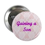 Gaining a Son Pink Hearts Button