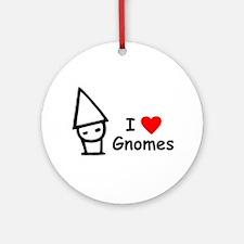 I Love Gnomes Ornament (Round)