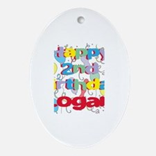 Logan's 2nd Birthday Oval Ornament