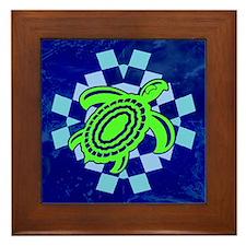 Green Cutout Turtle Framed Tile