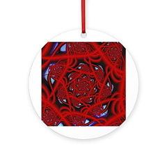 """Red 11"" Fractal Art Ornament (Round)"