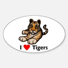 I Love Tigers Oval Decal