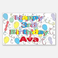 Ava's 3rd Birthday Rectangle Decal