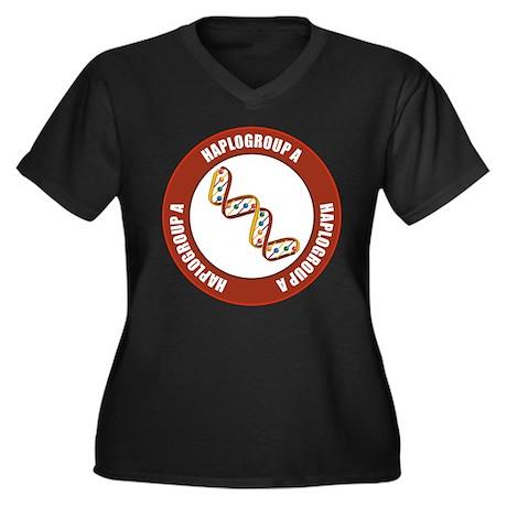 Haplogroup A Women's Plus Size V-Neck Dark T-Shirt