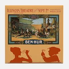 Vintage Ben Hur Horse Race Tile Coaster
