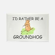 I'd Rather Be A Groundhog Rectangle Magnet