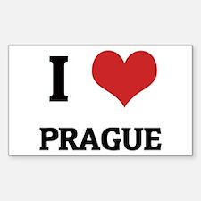 I Love Prague Rectangle Decal