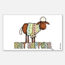 knit happens Rectangle Stickers