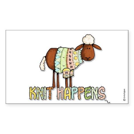 knit happens Rectangle Sticker 10 pk)