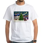 XmasMagic/Dachshund (Wire) White T-Shirt