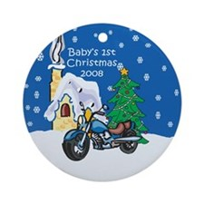08 Motorcycle 1st Christmas Ornament (Round)
