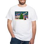 Xmas Magic & Yorkie White T-Shirt
