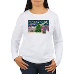 Xmas Magic & Yorkie Women's Long Sleeve T-Shirt