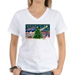 XmasMagic/Yorkie #17 Women's V-Neck T-Shirt