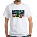 XmasMagic/2 Yorkies White T-Shirt