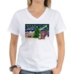 XmasMagic/2 Yorkies Women's V-Neck T-Shirt