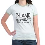 BLAME MY PARENTS Jr. Ringer T-Shirt