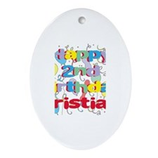 Cristian's 2nd Birthday Oval Ornament