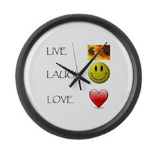 Live Laugh Love Heart Sunflow Large Wall Clock