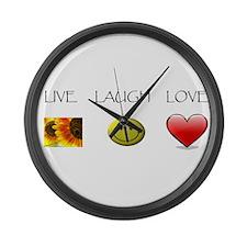 Live Laugh Love Slide Large Wall Clock