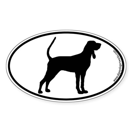 Black and Tan SILHOUETTE Oval Sticker
