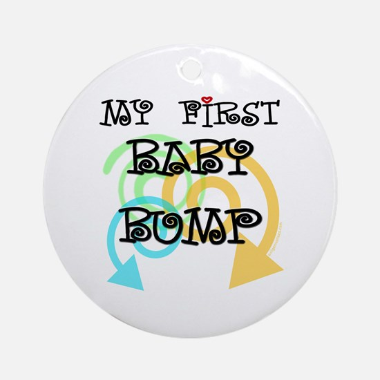 Cute first baby bump pregnancy Ornament (Round)