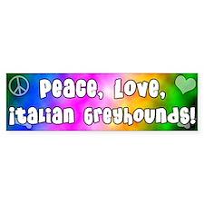 Hippie Italian Greyhound Bumper Car Sticker