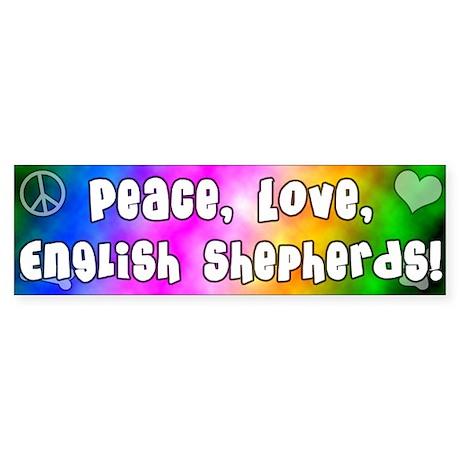 Hippie English Shepherd Bumper Sticker