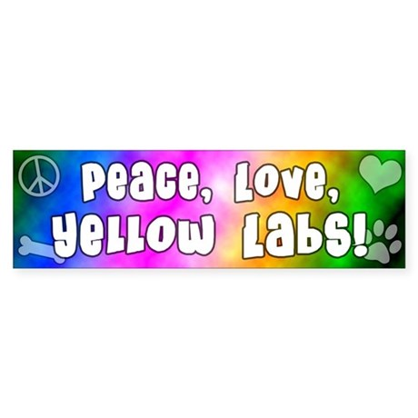 Hippie Yellow Lab Bumper Sticker