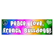 Hippie French Bulldog Bumper Bumper Sticker