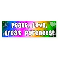 Hippie Great Pyrenees Bumper Bumper Sticker