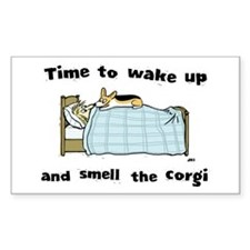 Wake Up & Smell the Corgi Rectangle Sticker 10 pk