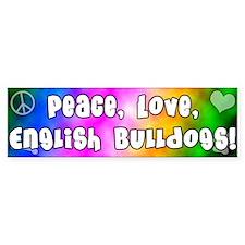 Hippie English Bulldog Bumper Bumper Sticker