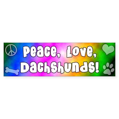 Hippie Dachshund Bumper Sticker