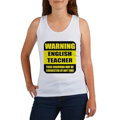 Warning english teacher sign Women's Tank Top