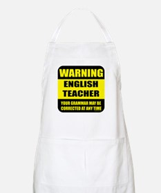 Warning english teacher sign BBQ Apron