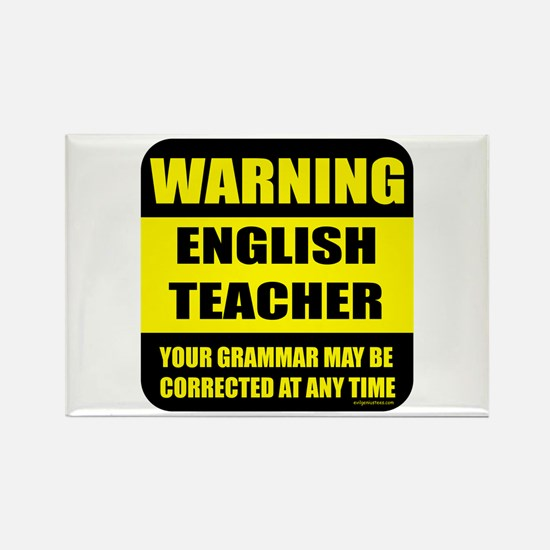 Warning english teacher sign Rectangle Magnet