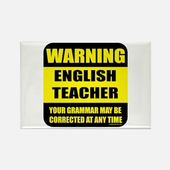 Warning english teacher sign Rectangle Magnet