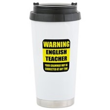 Warning english teacher sign Travel Mug