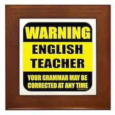 Warning english teacher sign Framed Tile