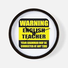 Warning english teacher sign Wall Clock